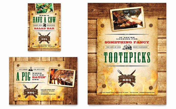 Bbq Catering Menu Template Beautiful Steakhouse Bbq Restaurant Flyer & Ad Template Design
