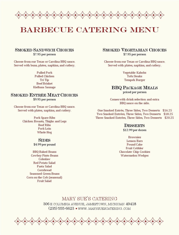 Bbq Catering Menu Template Elegant Barbecue Catering Menu Musthavemenus