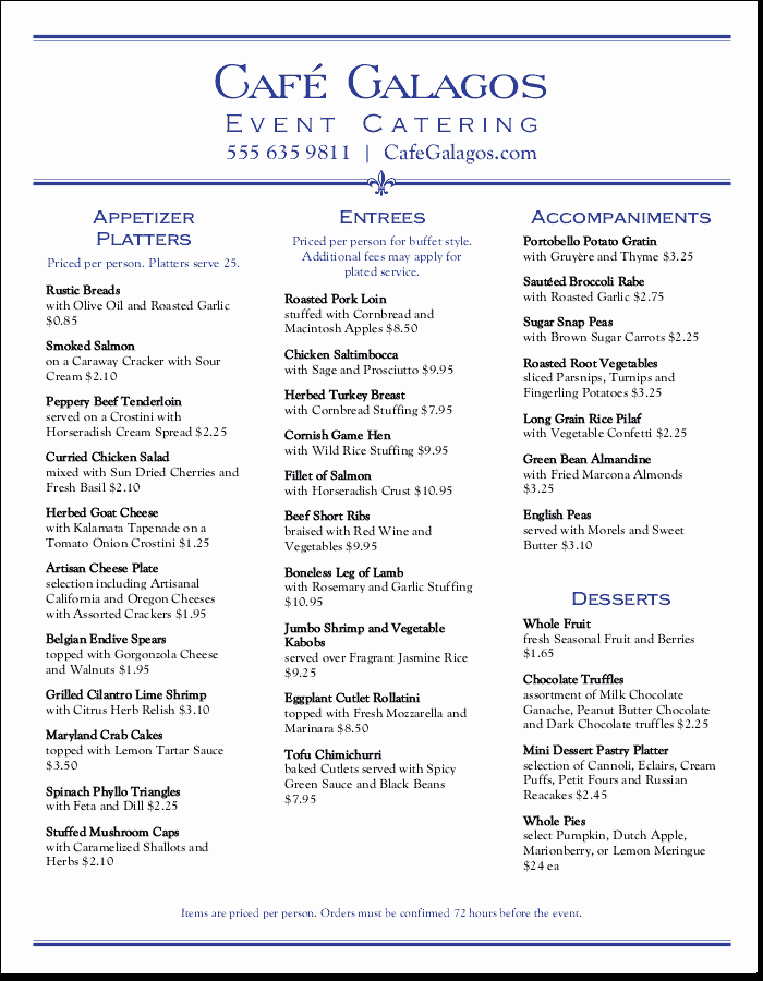 Bbq Catering Menu Template Elegant Catering Menu Templates that are Easy to Customize