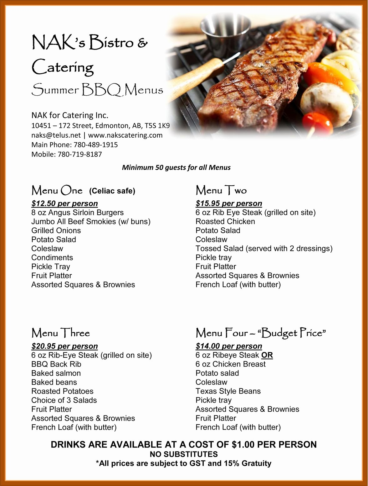 Bbq Catering Menu Template Fresh Barbecue Rehearsal Dinner Summer Bbq Catering Menu Great