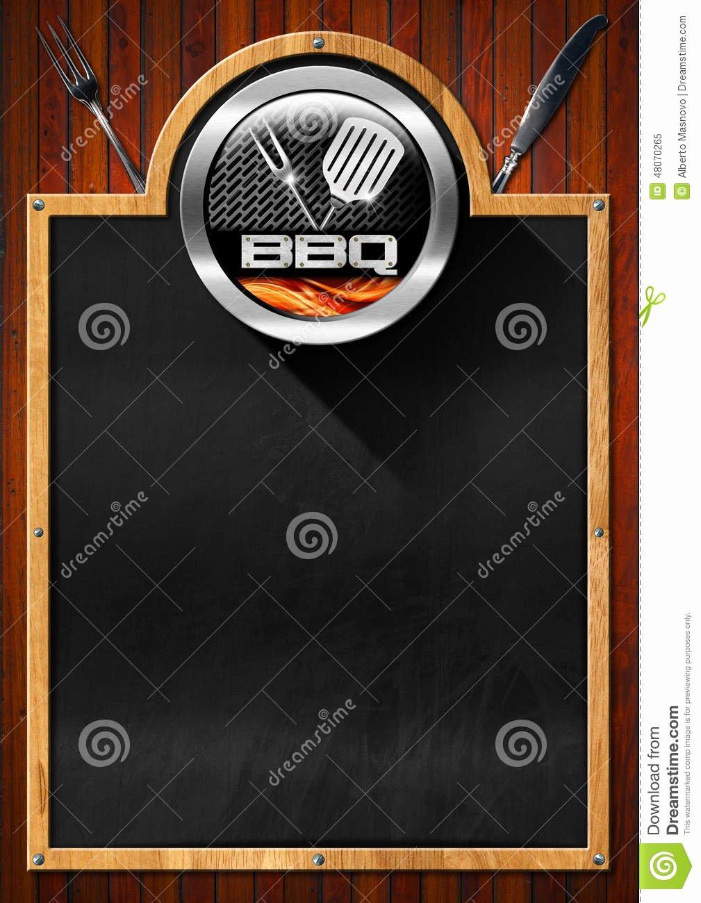 Bbq Catering Menu Template Inspirational Blackboard for Barbecue Menu Stock Illustration