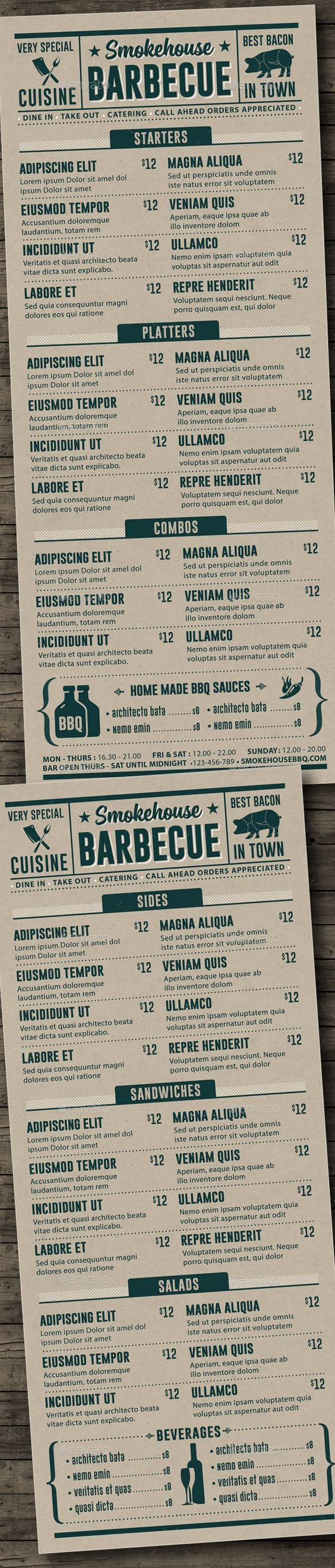 Bbq Catering Menu Template New Bbq Menu Template