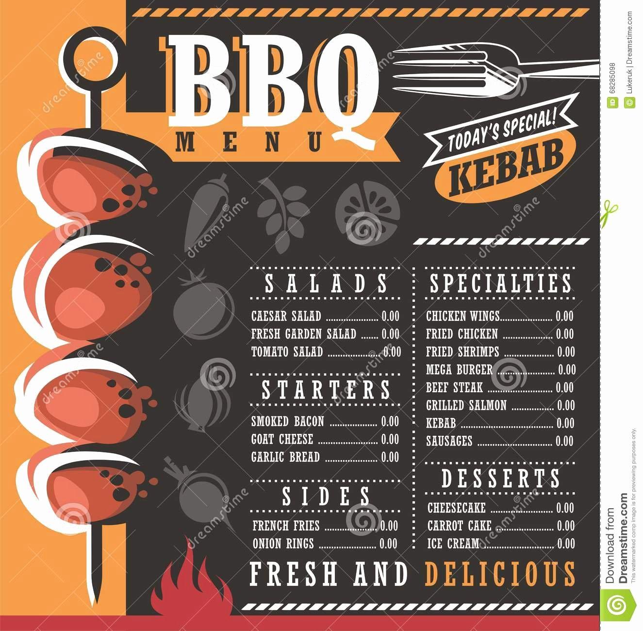 Bbq Catering Menu Template New Bbq Restaurant Menu Design Stock Vector Image