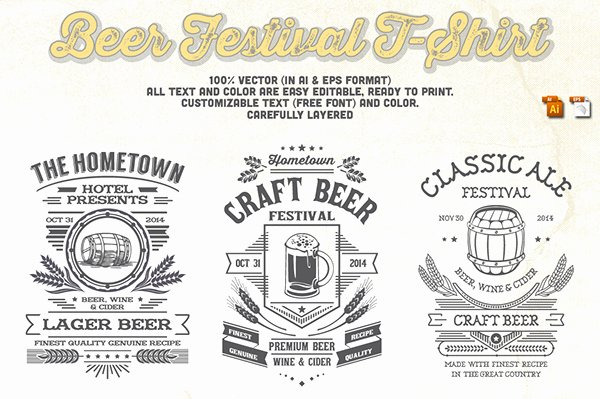 Beer Can Design Template Beautiful Beer Festival T Shirt Design Template On Behance