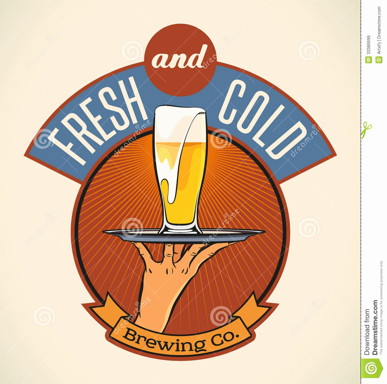 Beer Can Label Template Elegant Fresh and Cold Royalty Free Stock Image