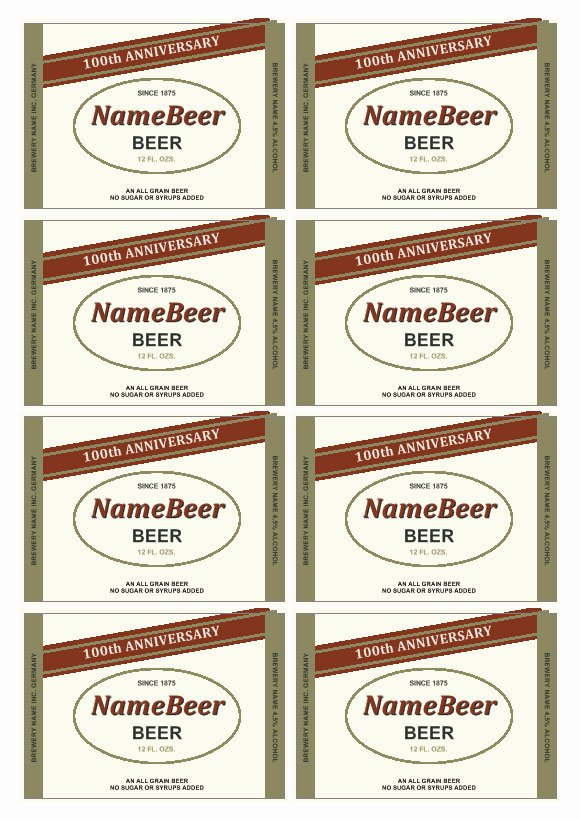 Beer Can Label Template Lovely Beer Label Template