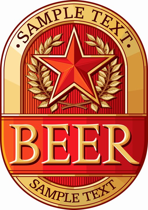 Beer Can Label Template New Set Of Vivid Beer Label Vector 04 Free