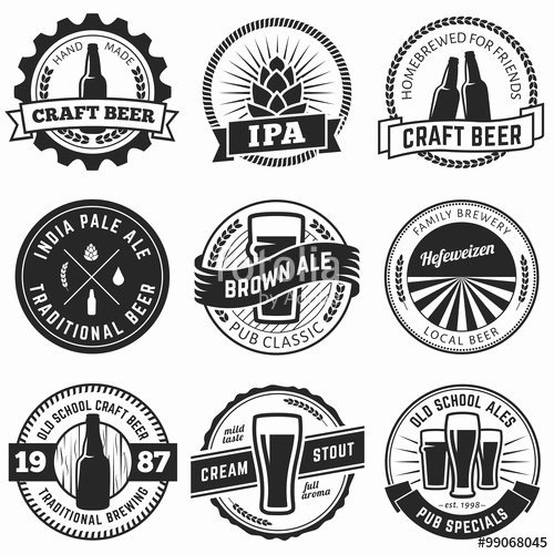 "Beer Label Template Illustrator Awesome ""set Of Vintage Craft Beer Labels and Emblems Vector Beer"