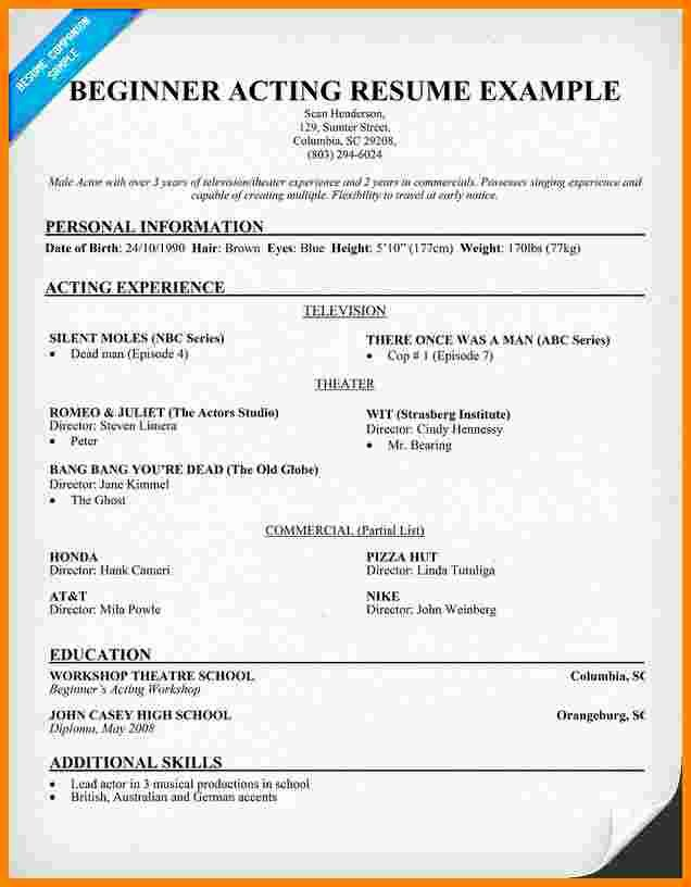 Beginner Acting Resume Template Awesome 6 Beginner Acting Resume Template
