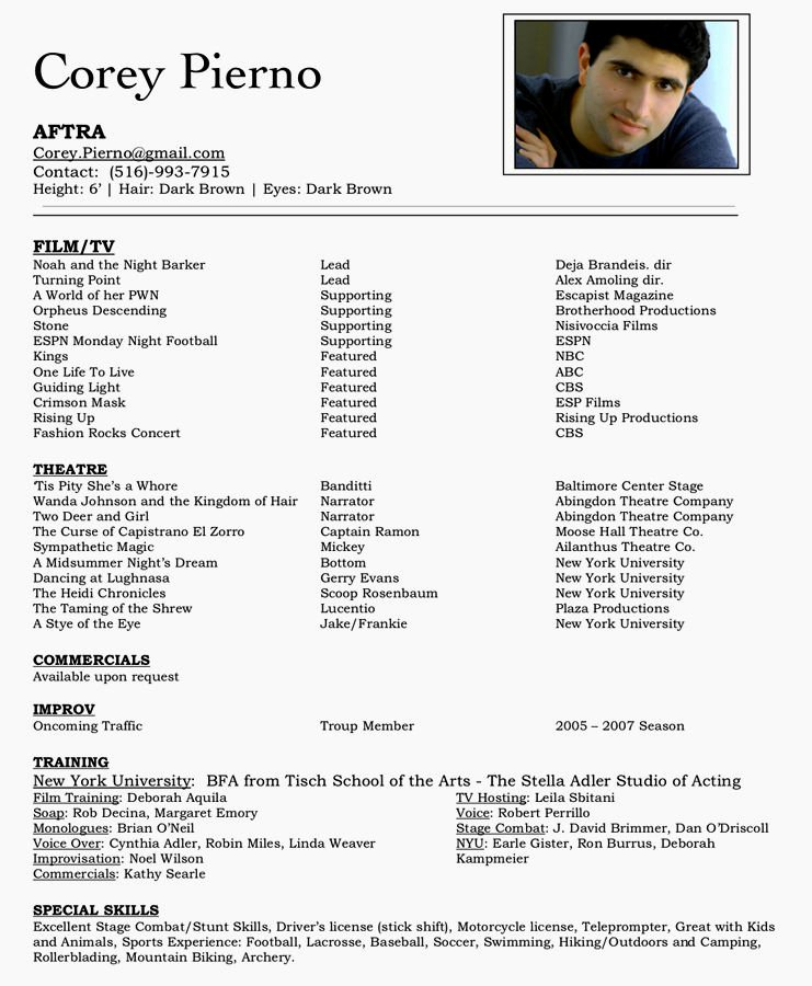 Beginner Acting Resume Template Awesome Acting Resume for Beginners Resume Template