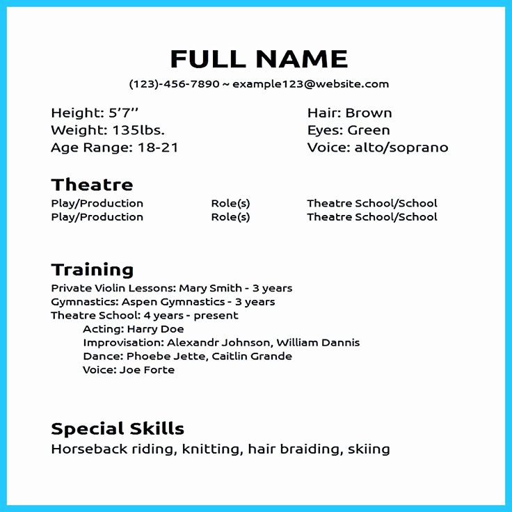 Beginner Acting Resume Template Awesome Actor Resume Sample Presents How You Will Make Your