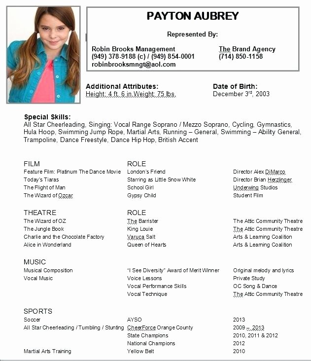 Beginner Acting Resume Template Awesome Child Actor Resume – Letsdeliver
