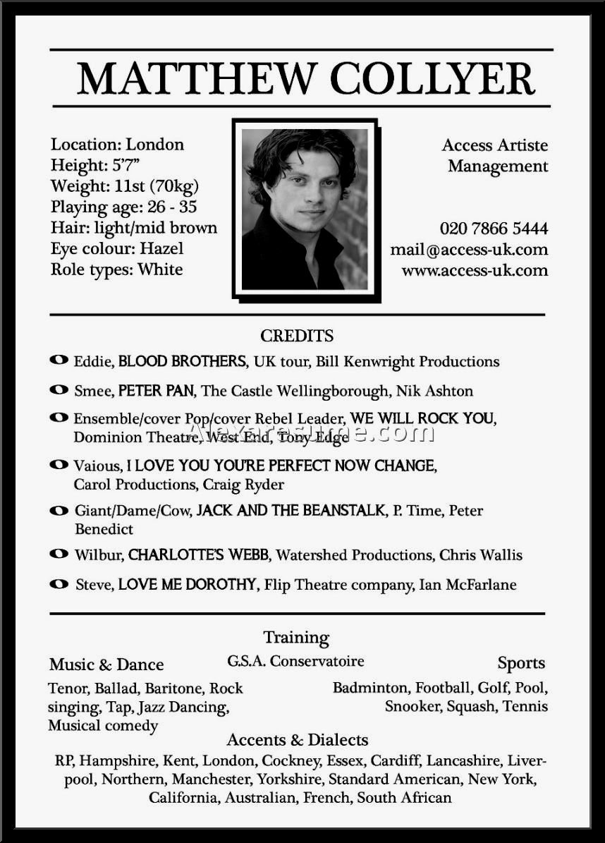 Beginner Acting Resume Template Elegant Actors Resume for Beginners Resume Template