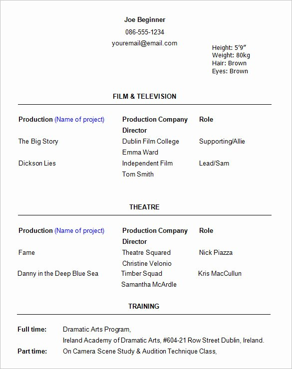 Beginner Acting Resume Template Fresh 11 Acting Resume Templates Free Samples Examples