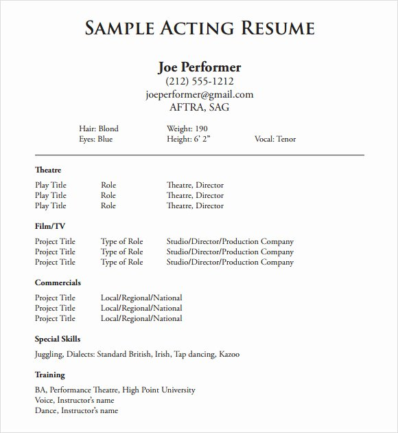 Beginner Acting Resume Template Lovely 20 Useful Sample Acting Resume Templates to Download