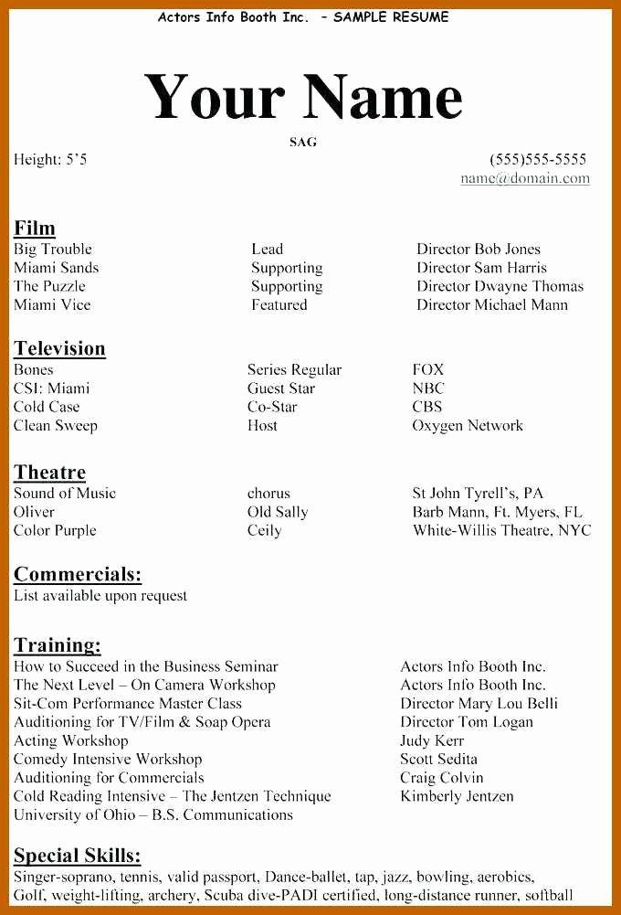 Beginner Acting Resume Template Luxury 3 4 Acting Resume Examples