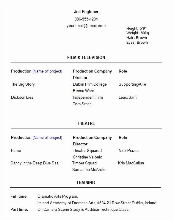 Beginner Acting Resume Template Luxury Beginner Actor Resume Best Resume Collection