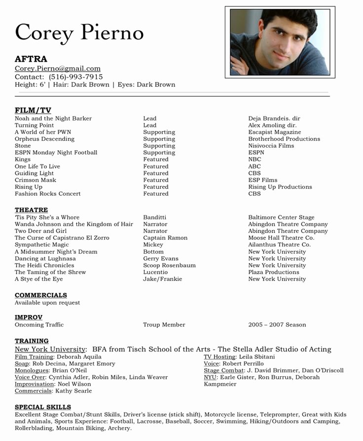Beginner Acting Resume Template New Best 25 Acting Resume Template Ideas On Pinterest