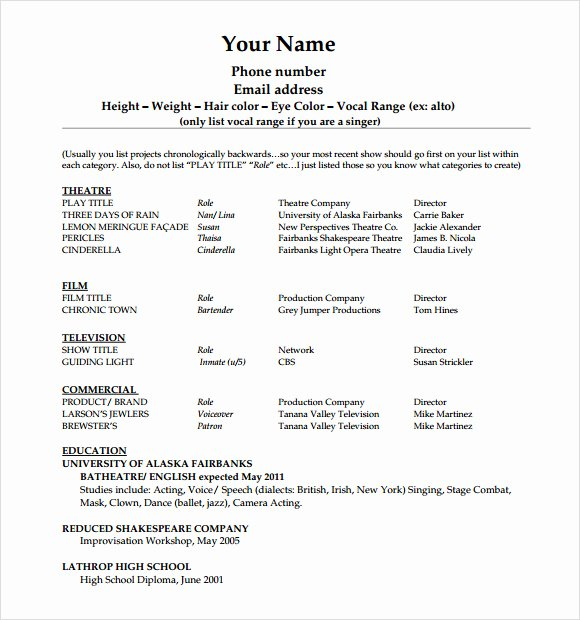 Beginner Acting Resume Template Unique 20 Useful Sample Acting Resume Templates to Download