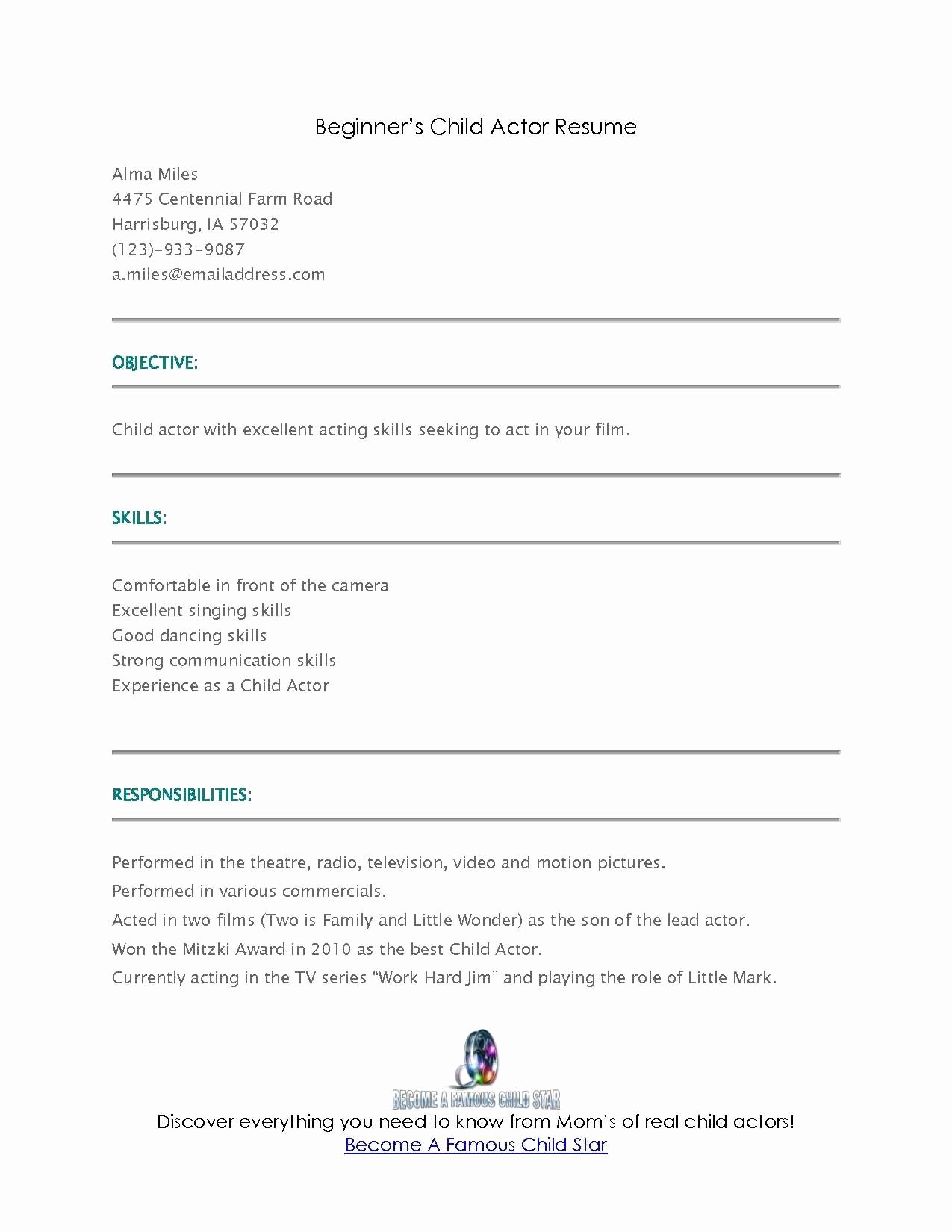 Beginner Acting Resume Template Unique Acting Resume Sample for Beginners How to Make An Acting