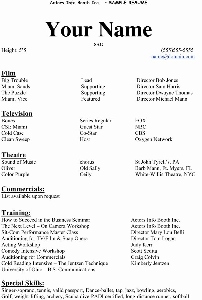 Beginner Acting Resume Template Unique Acting Resumes Examples Best Resume Collection