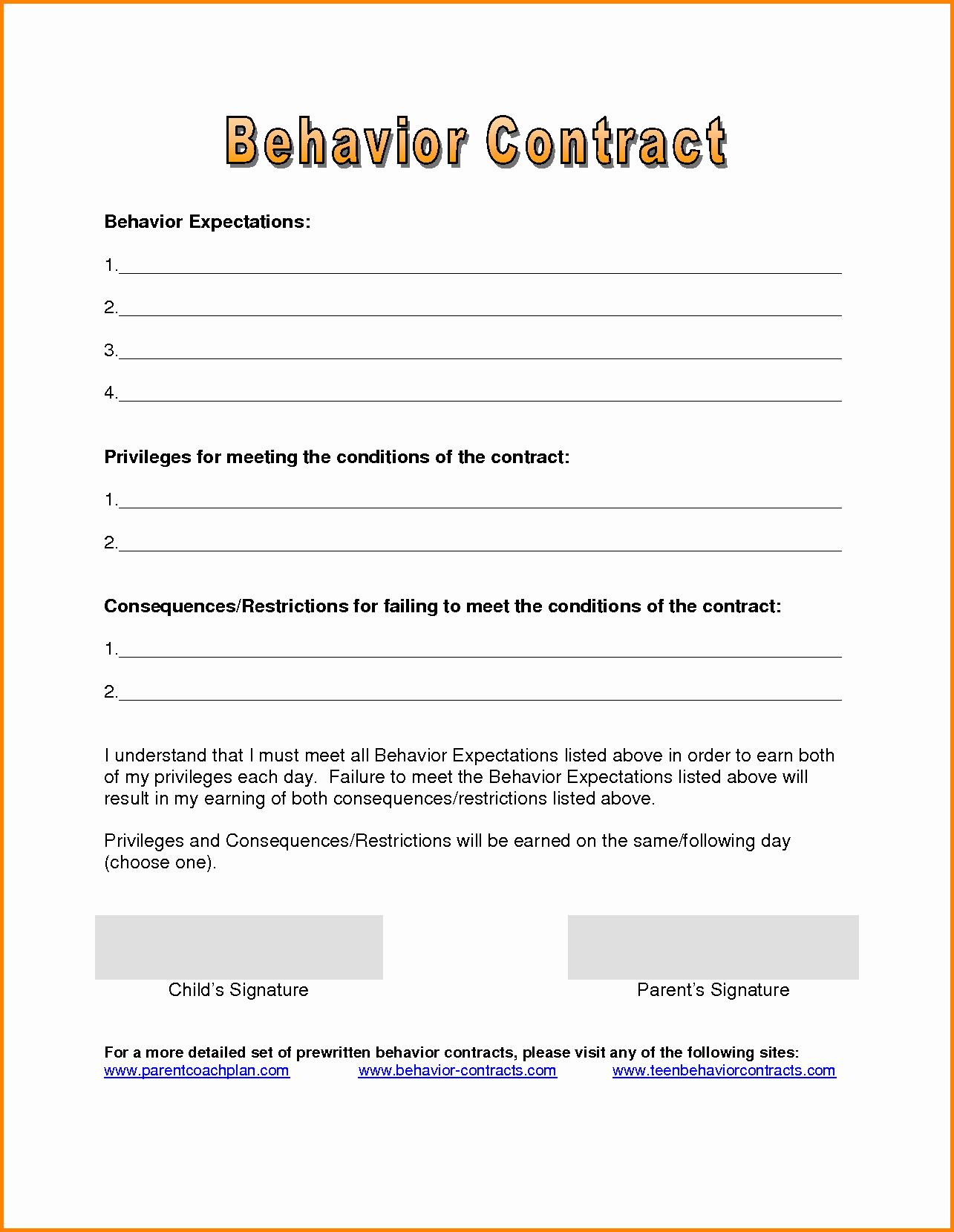 Behavior Contract Template Mental Health Elegant Contract Behavior Contract Template