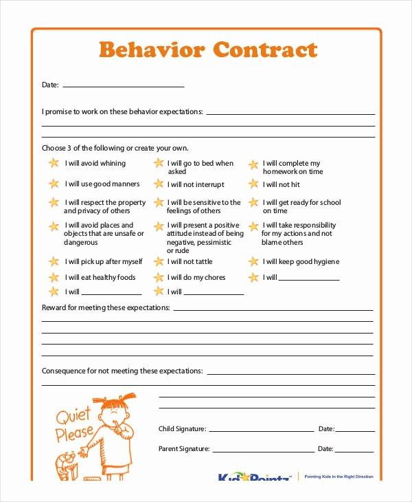 Behavior Contract Template Mental Health Fresh 12 Sample Behavior Contract Templates Word Pages Docs