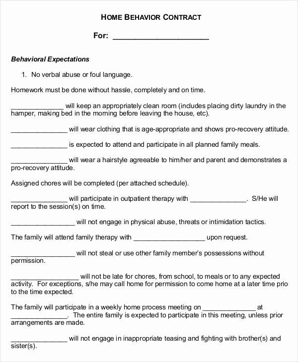 Behavior Contract Template Mental Health Lovely 12 Sample Behavior Contract Templates Word Pages Docs