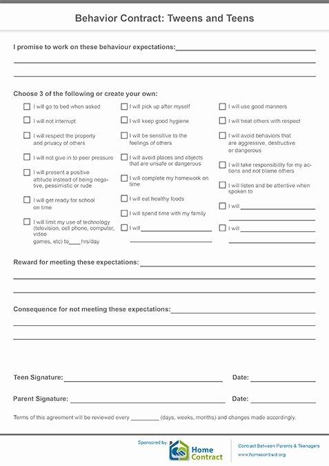Behavior Contract Template Mental Health Lovely Behavior Contract Tweens and Teens