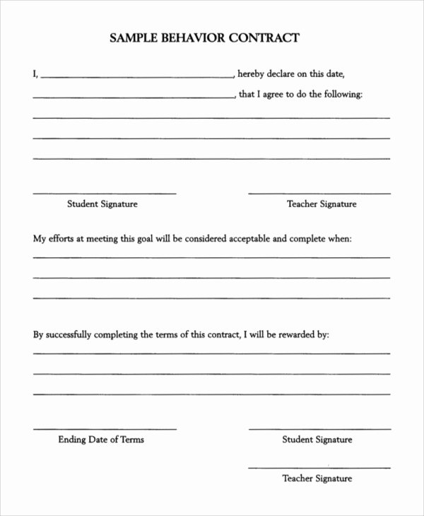Behavior Contract Template Mental Health Luxury 11 Behavior Contract Samples