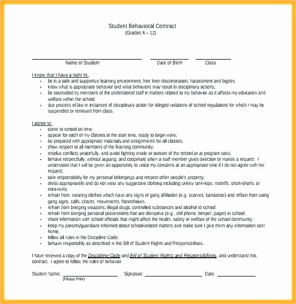 Behavior Contract Template Mental Health Luxury Behavior Contract Behavioral Management Board Classroom
