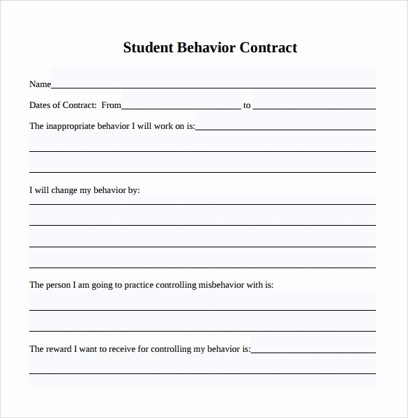 Behavior Contract Template Mental Health New Sample Behaviour Contract 14 Free Documents Download In