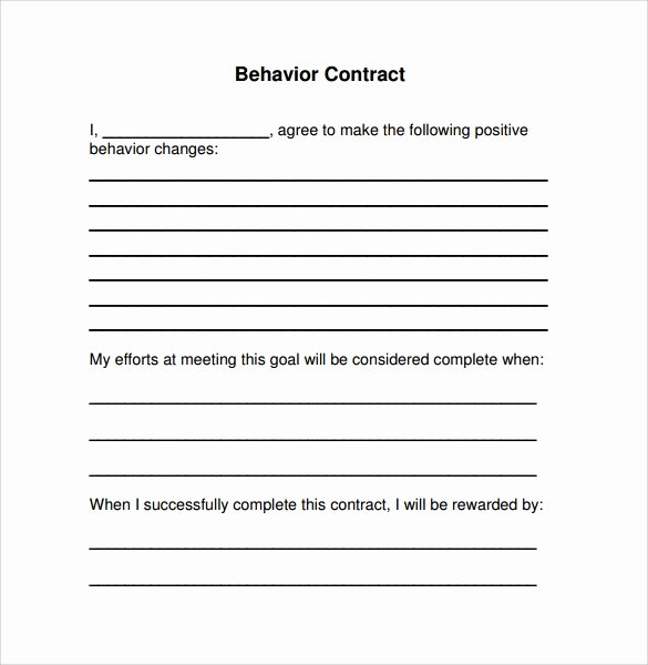 Behavior Contract Template Mental Health New Sample Behaviour Contract 15 Free Documents Download In