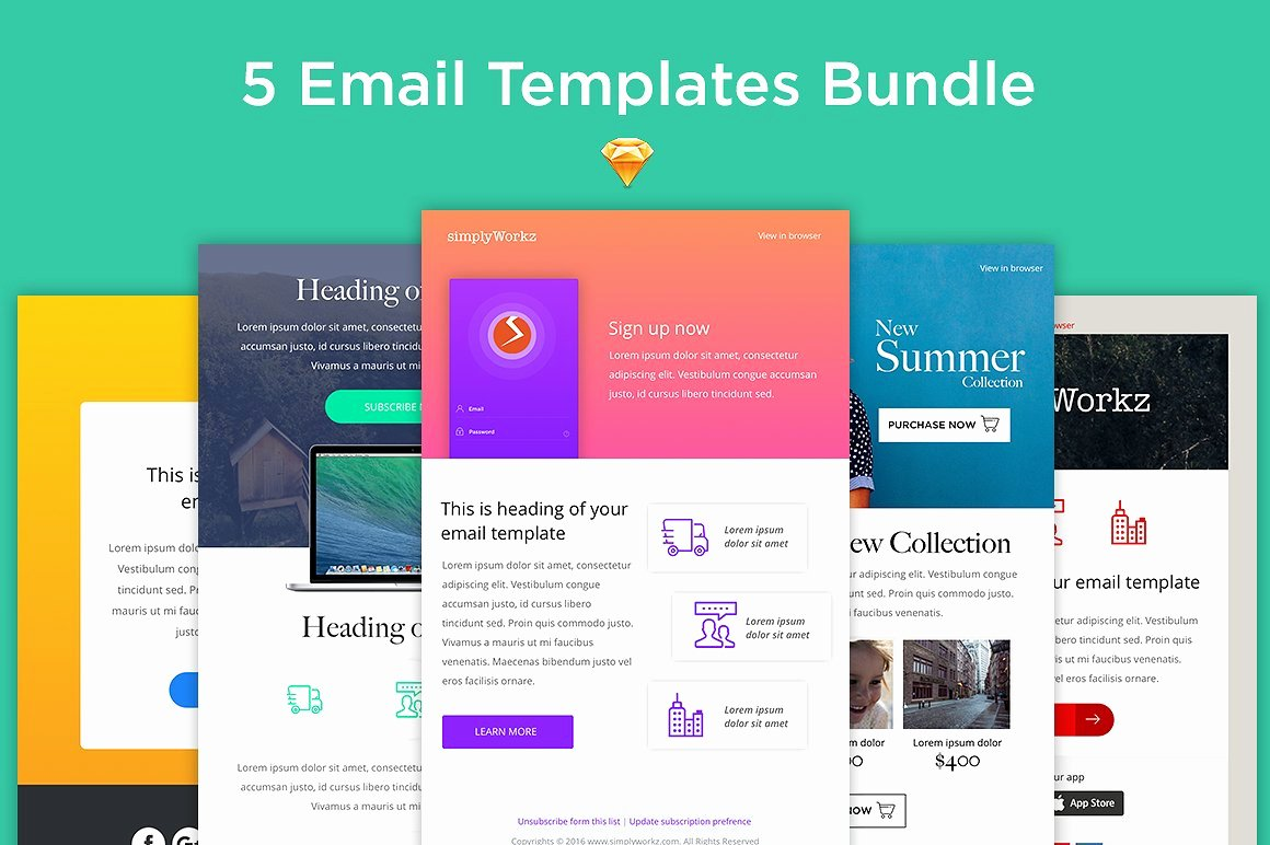 Best Email Template Designs Unique 5 Email Templates Bundle Sketch Other Platform Email