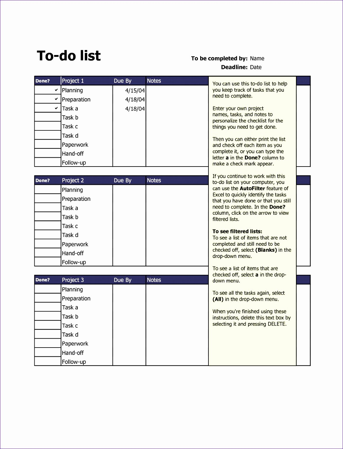 Best to Do List Template Unique 12 to Do List Excel Template Exceltemplates Exceltemplates