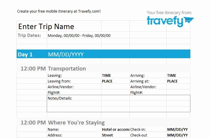 Best Travel Itinerary Template Elegant 30 Itinerary Templates Travel Vacation Trip Flight