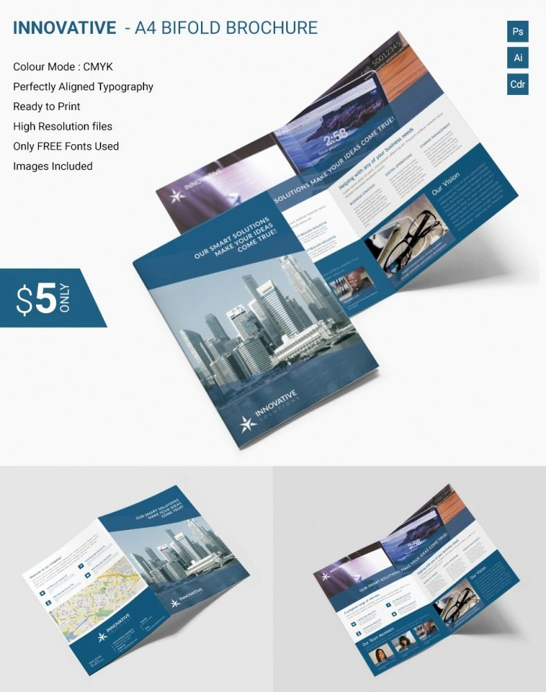 Bi Fold Brochure Template Beautiful Elegant Innovative A4 Bi Fold Brochure Template