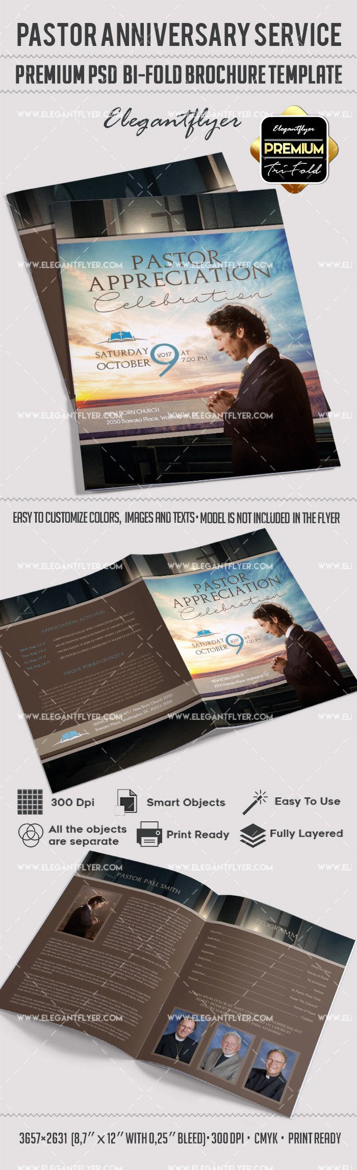 Bi Fold Brochure Template Elegant Pastor Appreciation Day Brochure – by Elegantflyer