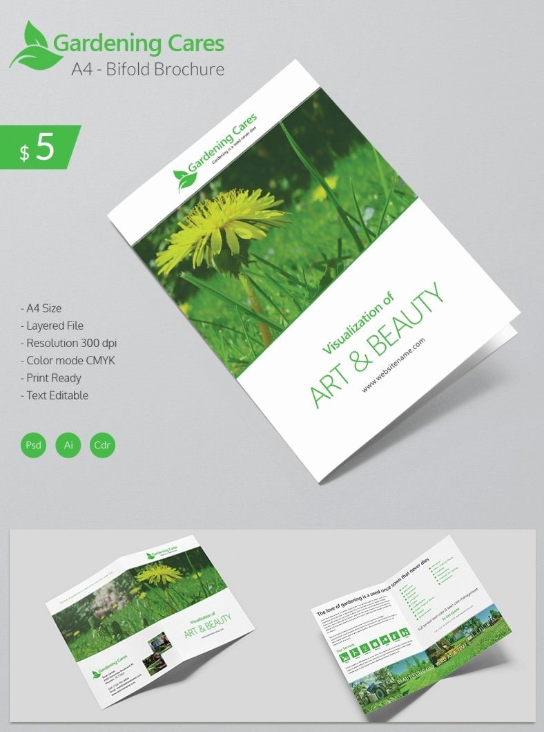 Bi Fold Brochure Template Fresh Beautiful Gardening Care A4 Bi Fold Brochure Template