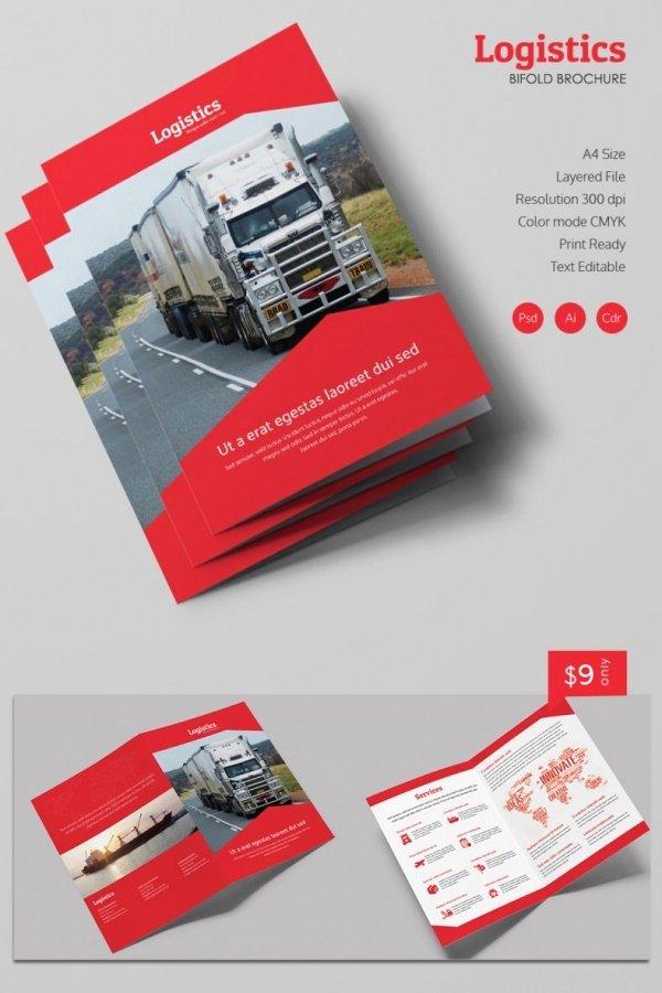 Bi Fold Brochure Template Inspirational Modern Logistics A4 Bi Fold Brochure Template