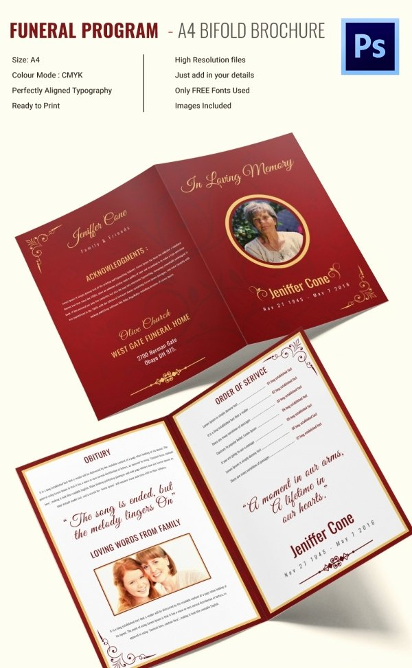 Bi Fold Brochure Template Lovely 30 Funeral Program Brochure Templates – Free Word Psd