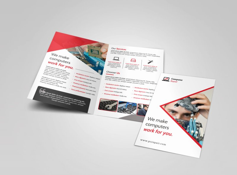 Bi Fold Brochure Template New Red Puter Repair Bi Fold Brochure Template