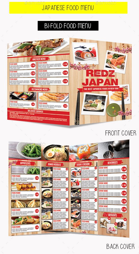 Bi Fold Menu Template Awesome 20 Japanese Restaurant Menu Templates Download In Psd Eps