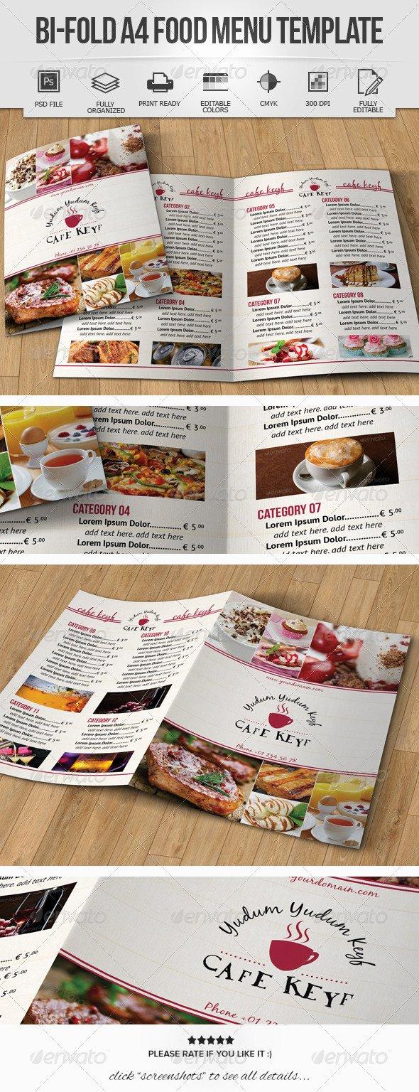 Bi Fold Menu Template Awesome 25 Food Menu Design Psd for Restaurant