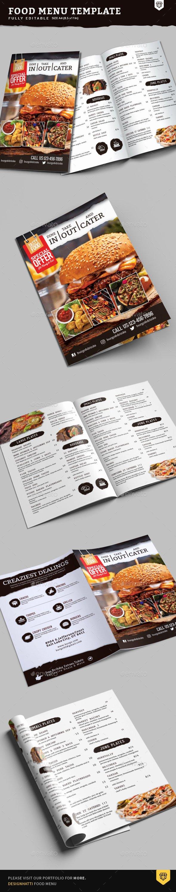 Bi Fold Menu Template Awesome A4 Bi Fold Food Menu Template by Designhatti