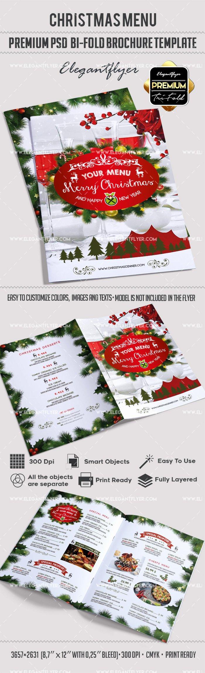 Bi Fold Menu Template Awesome Christmas Menu Bi Fold Brochure – by Elegantflyer