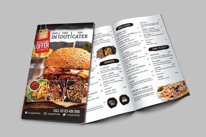 Bi Fold Menu Template Beautiful A4 Bi Fold Food Menu Template by Designhatti On Envato