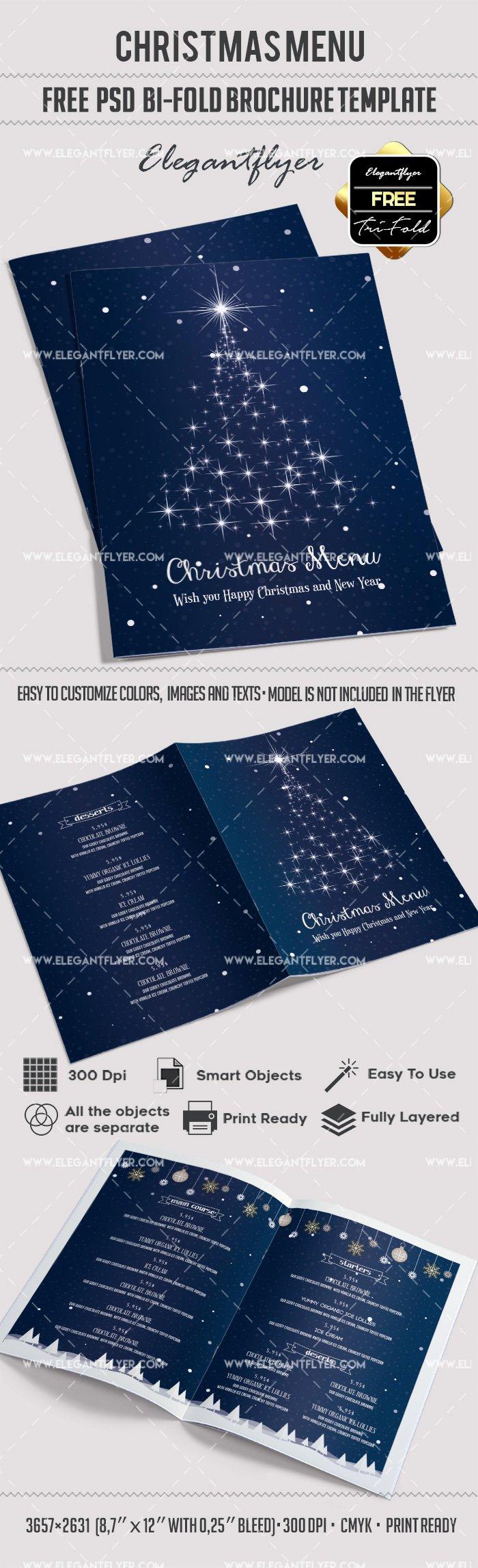 Bi Fold Menu Template Elegant Free Christmas Menu – Bi Fold Psd Brochure Template – by