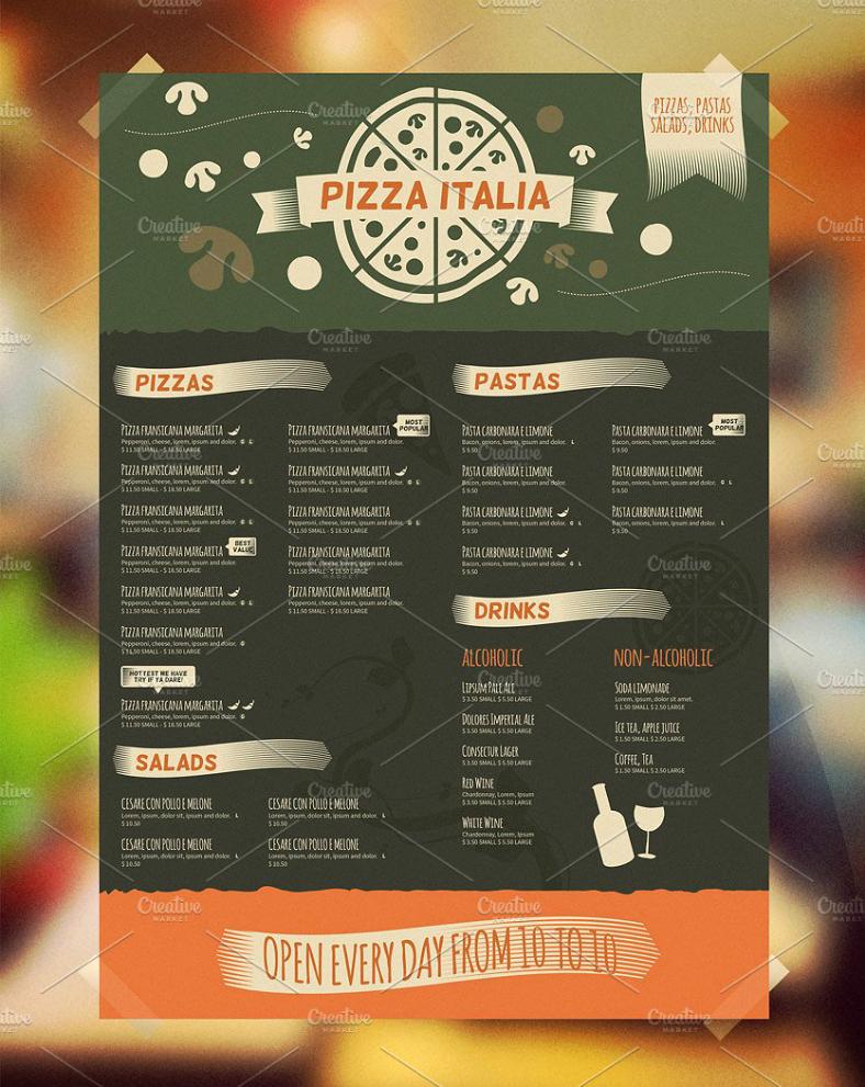 Bi Fold Menu Template Fresh 22 Italian Food Menu Designs & Templates Psd Ai