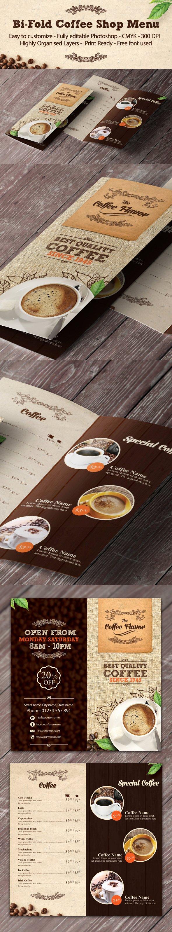Bi Fold Menu Template Fresh Bi Fold Coffee Shop Menu Template On Behance